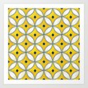 Mediterranean hand painted tile in Yellow, Blue and White by athenaandolive