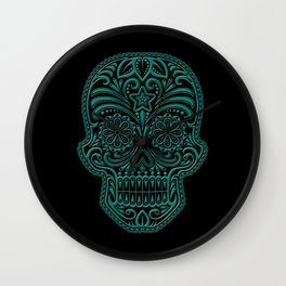 Intricate Teal Blue and Black Day of the Dead Sugar Skull Wall Clock