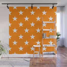 Stars (White/Orange) Wall Mural