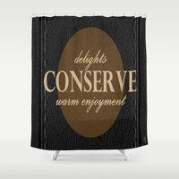"leather Shower Curtains featuring LeAtHer COnSeRvE by ""CVogiatzi."