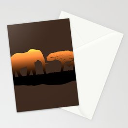 Elephant Sunset Stationery Cards