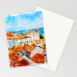 Lisbon, Portugal - City View Stationery Cards