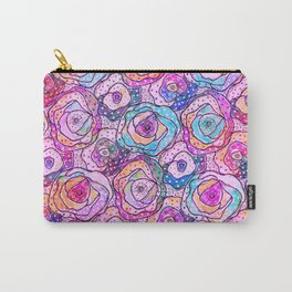 Watercolour & Rainbow Ink Flowers , Colorful Floral Painting Carry-All Pouch