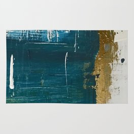 Rain [3]: a minimal, abstract mixed-media piece in blues, white, and gold by Alyssa Hamilton Art Rug