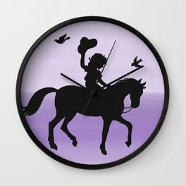 Girl and horse silhouette lavender Wall Clock