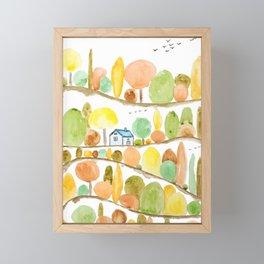 autumn landscape watercolor  Framed Mini Art Print