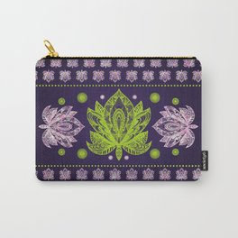 Lotus Flower in Bright green and Rose quartz Carry-All Pouch