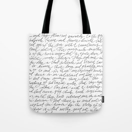 Script Text Book Page Letter Tote Bag
