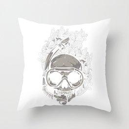 Scuba Diver Skull Throw Pillow