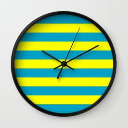 Stripe Cyan Blue and Yellow Lines  Wall Clock