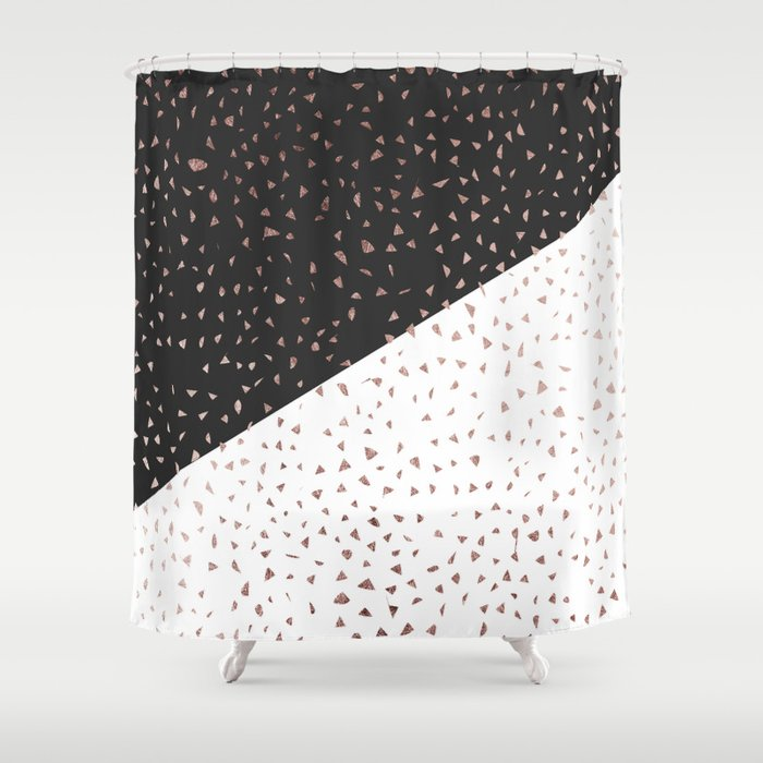 Speckled Rose Gold Flakes On Black White Geometric Shower Curtain By Blackstrawberry