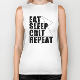 d20 Eat Sleep Crit Repeat Biker Tank