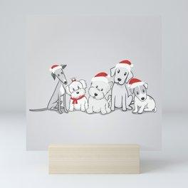Christmas Dogs Santa Paws Illustration Mini Art Print