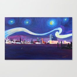 Starry Night in Hamburg   Van Gogh Inspirations in Hamburg Harbour with Elbe Philharmonic Hall Canvas Print