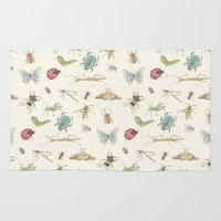 insects Area & Throw Rugs featuring Insects by Little Holly Berry