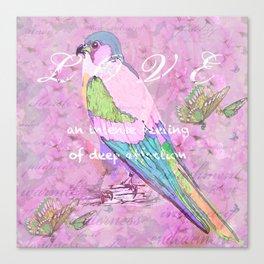 BIRD LOVE AND BUTTERFLIES Canvas Print