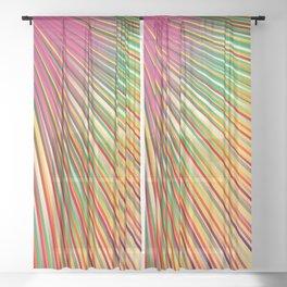 Rainbow rays, abstract print, diagonal lines Sheer Curtain