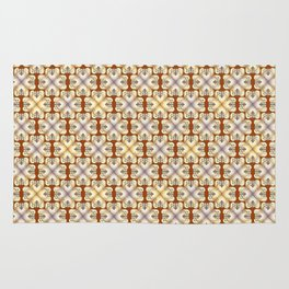 Golden hearts forged iron pattern Rug