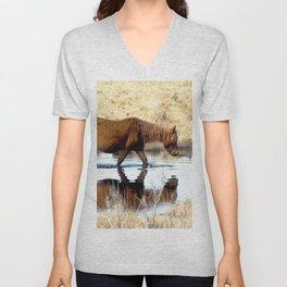 Watercolor Horse 66, Assateague Pony, Assateague, Maryland, Swim, Swim, Swim 'Lil Pony Unisex V-Neck