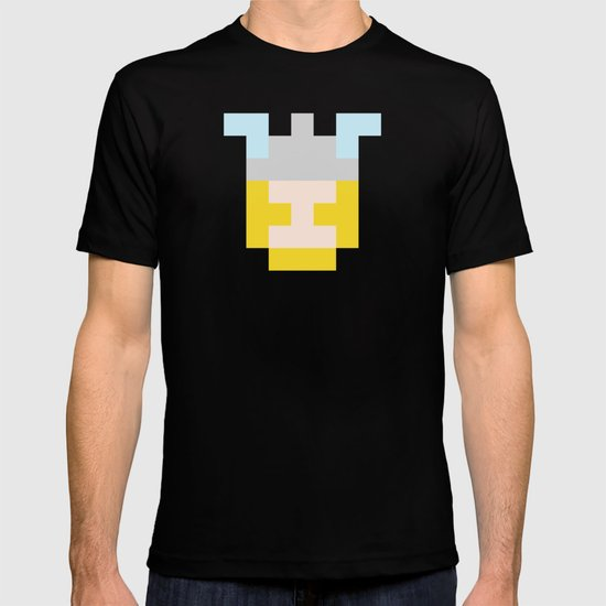 hero pixel flesh yellow grey T-shirt