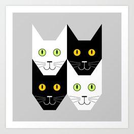 Black cat, white cat Art Print