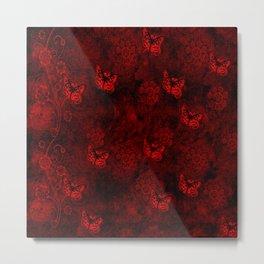 Red Butterfly Garden Metal Print