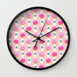 Coffee and donuts cute latte breakfast food pattern print pastel pink girly coffee cell phone cases Wall Clock