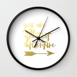 You Are Our Greatest Adventure Nursery Wall Art Poster Instant Download, Coral & Gold Arrows Tribal Wall Clock