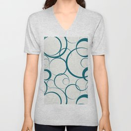 Tropical Dark Teal Funky Rings Pattern Inspired by Sherwin Williams 2020 Trending Color Oceanside SW6496 on Off White Unisex V-Neck