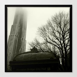 Downtown in the Fog, 2012 Canvas Print