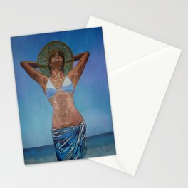 Woman Wearing Hat And Sarong  Enjoying Summer Stationery Cards