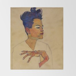 SELF PORTRAIT WITH HANDS ON CHEST - EGON SCHIELE Throw Blanket