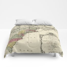 Colonial America Map by Matthaus Lotter (1776) Comforters
