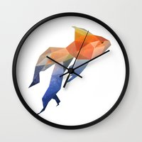low poly Wall Clocks featuring Low Poly Fantail Goldfish  by The animals moved to - society6.com/dian