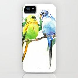 Budgies, Animal art, love, two birds bird artwork, bird pet iPhone Case