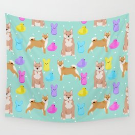 Shiba Inu dog breed peeps marshmallow easter spring dog pattern gifts Shiba Inus Wall Tapestry