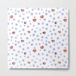 Forget-Me-not flowers and heart Metal Print