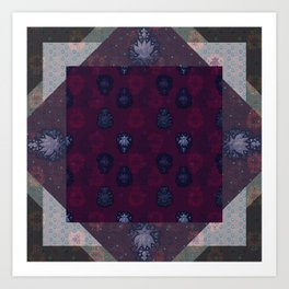 Lotus flower patchwork - woodblock print style pattern Art Print
