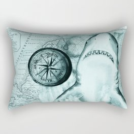 Great White Shark Compass Map Green Rectangular Pillow