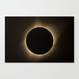 Flares - Total Solar Eclipse with Subdued Corona and Sun Bursts Canvas Print