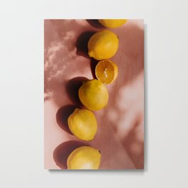 Summer vibe | Yellow lemon and pink background | shadow and sunlight art print | pastel photography Metal Print