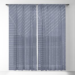 Lines (Navy) Sheer Curtain