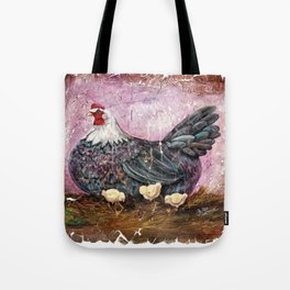 Blue Hen With Chicks Transparent Tote Bag