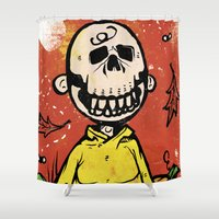 charlie brown Shower Curtains featuring Charlie Brown - The Original Pumpkin King by Neil McKinney