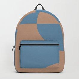Brown Blue Minimal Half Circle Design 2021 Color of the Year Canyon Dusk & Treasure Map Backpack