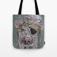 pig Tote Bags featuring PIG by Barbara Graetzer