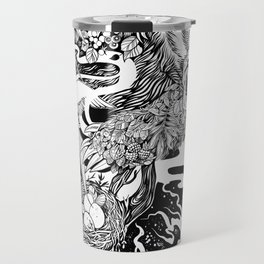 Bear- black and white - illustration Travel Mug