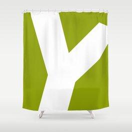 Sans Serif Y. White on Green. Shower Curtain