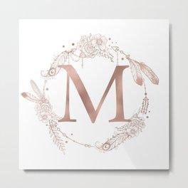 Letter M Rose Gold Pink Initial Monogram Metal Print