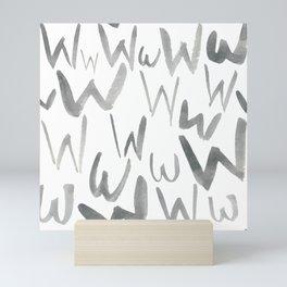 Watercolor W's - Grey Gray Mini Art Print